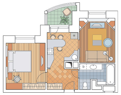Двухкомнатная квартира общей площадью 44 nbsp/м sup 2/sup в .
