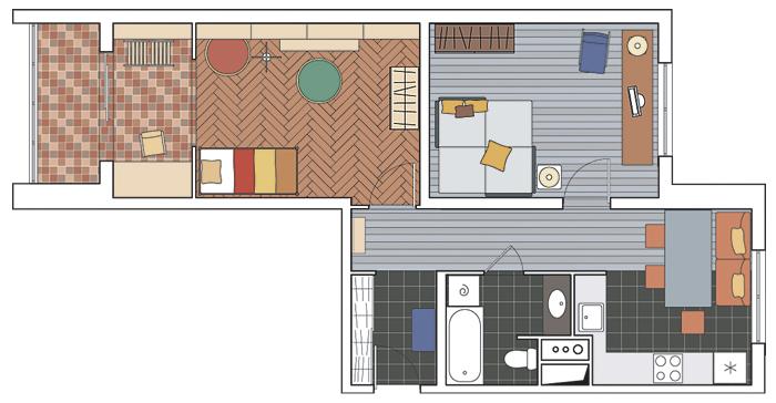 Дизайн проект квартиры в доме серии копэ