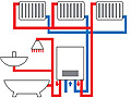 Схема функционирования двухуровневой системы отопления в многоэтажном доме.  Нажмите для увеличения.