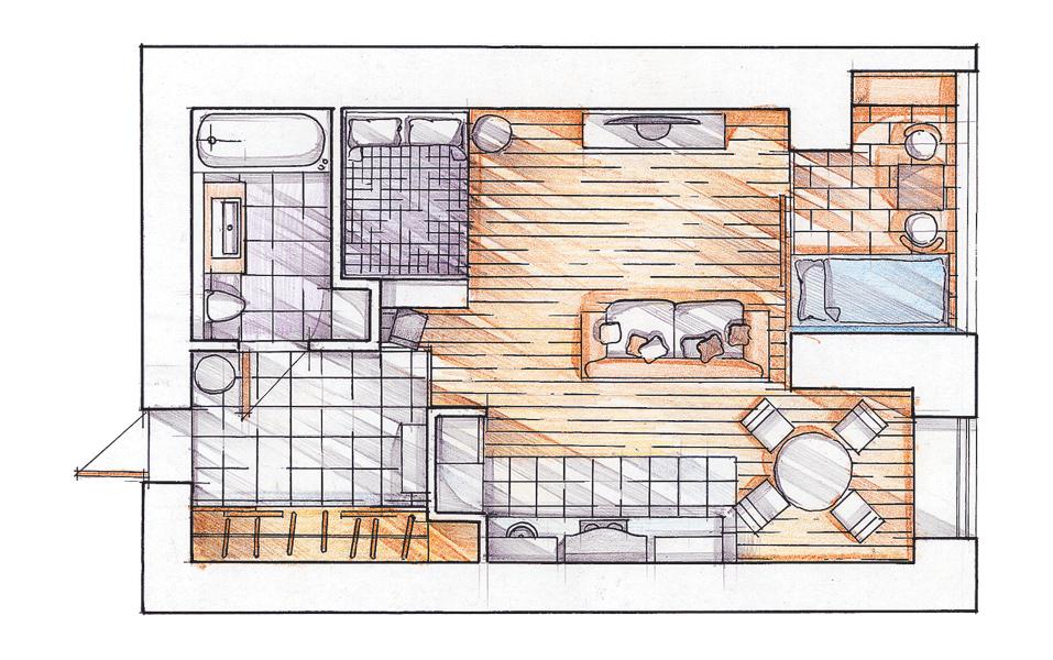 Дизайн однокомнатной квартиры для семьи с детьми