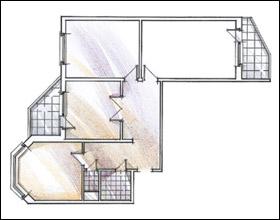 Схема жилой квартиры - на Интерьер-инфо.