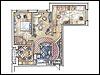 VAD-2 ( проекта 747).  Площадь: 88,3 кв.м. Как видите, образ квартиры создавался почти исключительно архитектурными...