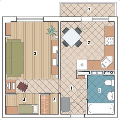 Однокомнатная квартира общей