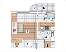 Перепланировка типовой однокомнатной квартиры
