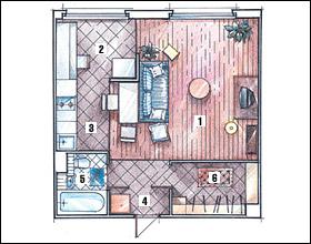 Далее вы увидите варианты расстановки мебели и дизайна интерьера однокомнатных квартир.  Еще один вариант - расширить...