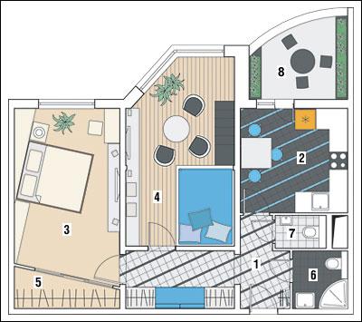 Двухкомнатная квартира в доме серии