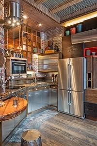 Кухня в студии: оригинальный интерьер с брутальным характером