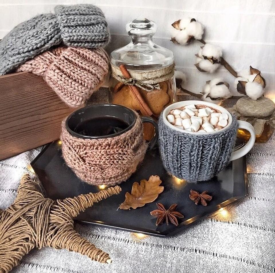 Вязаные чехлы для чашек