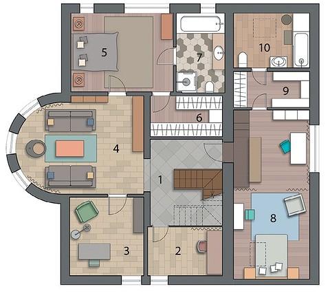 Экспликация второго этажа:  1. Хо&#10...