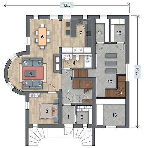 Экспликация первого этажа:  1. Пр ...