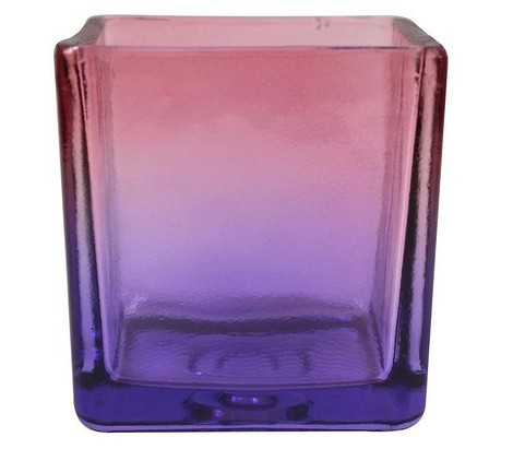 Кашпо Куб прозрачное розово-фиолетовое 8,2х8,2см