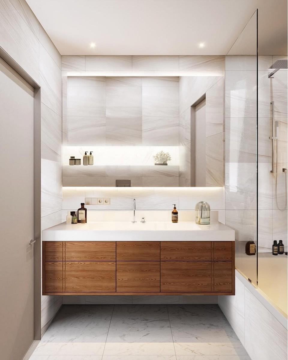 Встроенная раковина в ванной к&...