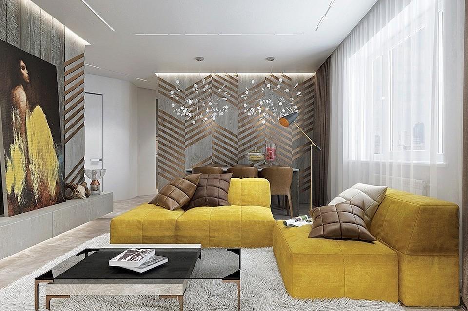 Яркий минимализм в дизайне двушки: бетон и жёлтые акценты