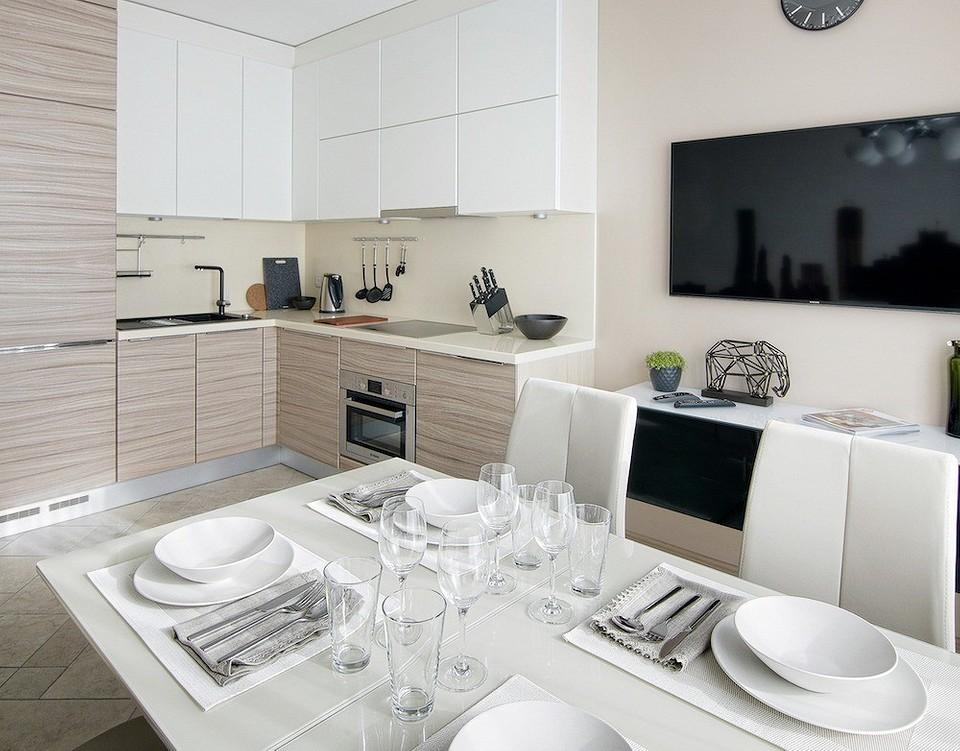 Интерьер кухни с урбанистическими фотообоями