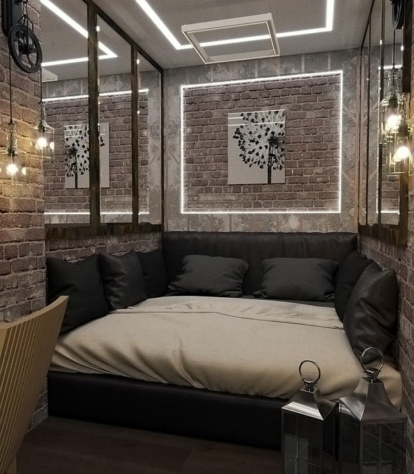 Маленькая спальня в стиле лофт...