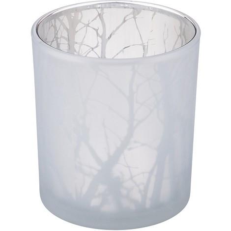 Подсвечник белый узор, размер:7х8 см, стекло