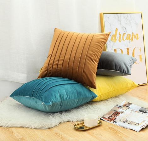 Однотонные бархатные чехлы на подушки