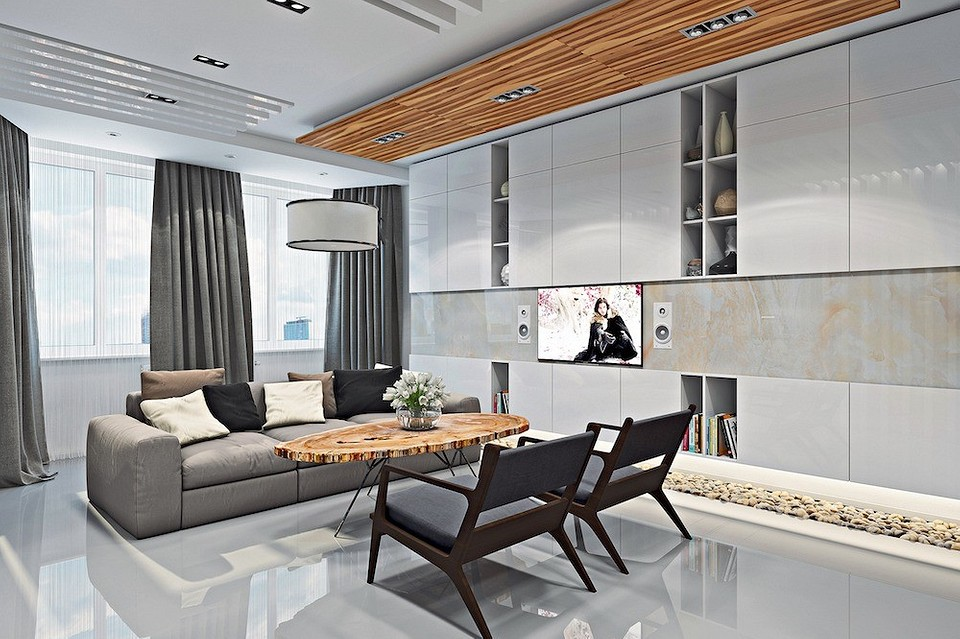 Современная двушка для горожанина: камень в отделке, мебель из массива и телевизор в ванной