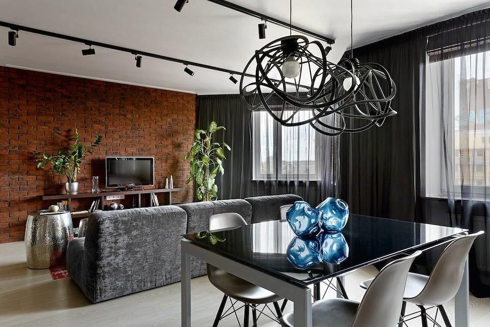 Сдержанный и элегантный лофт в трёхкомнатной квартире
