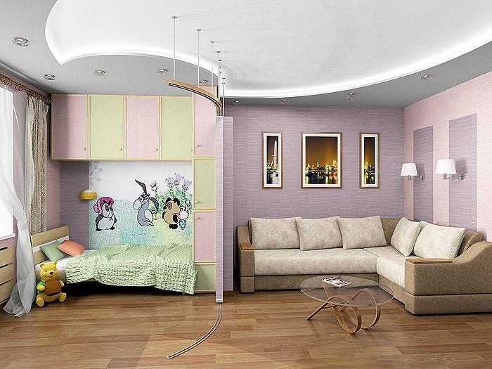 Ширма позволяет отделять детскую от спальни или совмещать их, обеспечивая приемлемую инсоляцию. В<nbsp/>пластических повторах<nbsp/>- круглых нишах потолка, ступенчато расположенных в перегородке из ГКЛ декоративных нишах-полках с подсветкой, чередовании светлых и темных тонов обоев<nbsp/>- чувствуется ритм, придающий пространству динамику