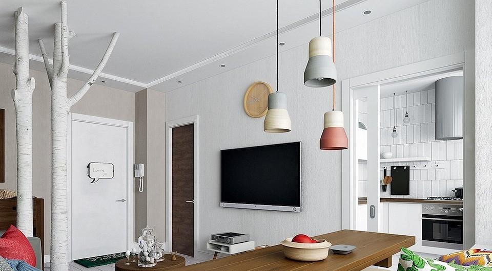 Дизайн квартиры с акцентом на дерево: доски в спальне и берёзы в гостиной