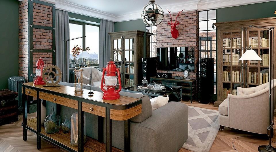 Уютный лофт с винтажной мебелью и красными акцентами