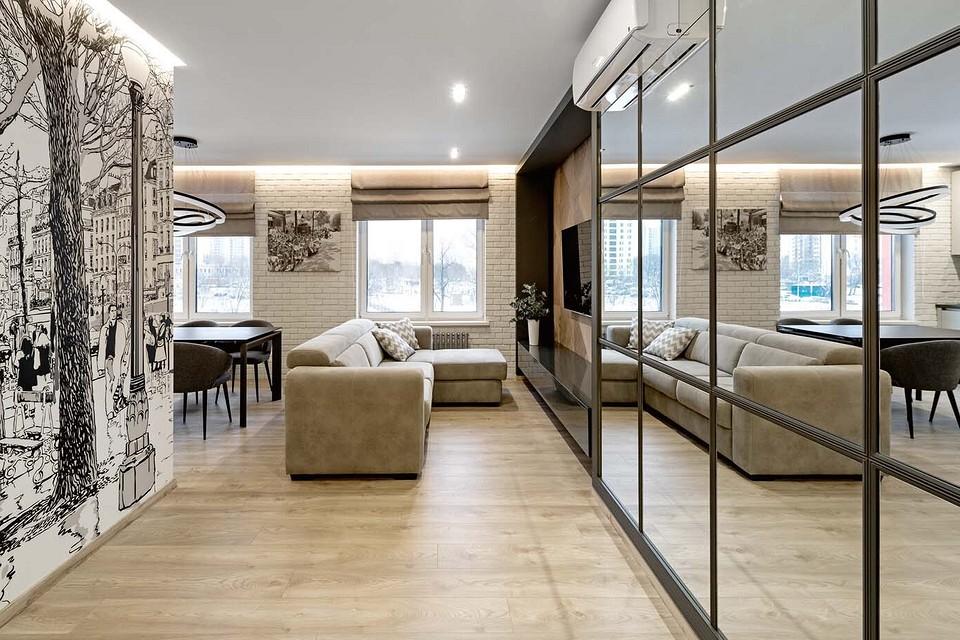 Современная и практичная: квартира для большой семьи, где поместилась даже сауна