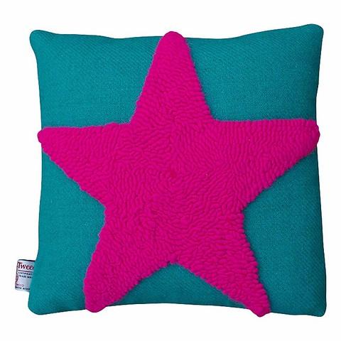 Яркая подушка Harris Tweed зеленого цвет...