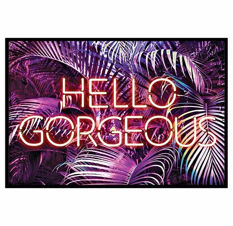 Принт с неоновой надписью Hello Gorgeous мо...