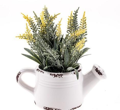 Керамическое кашпо с искусственным цветком