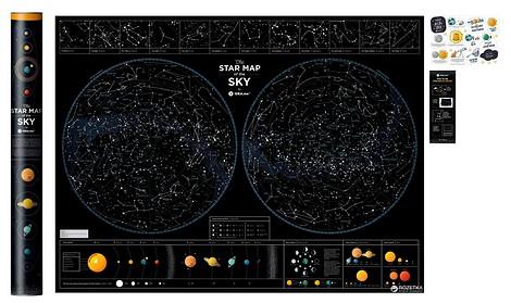 Карта ночного неба Star map of the sky