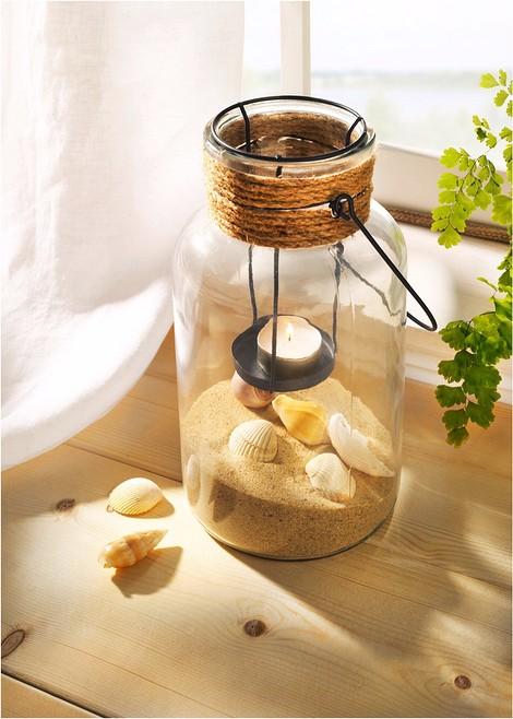 Подсвечник с песком и ракушками