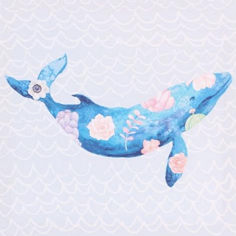 Картина на холсте «Кит в цветах»