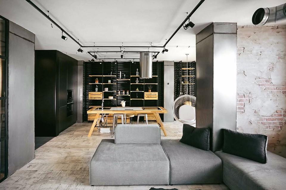 Брутальный лофт в маленькой квартире с низкими потолками