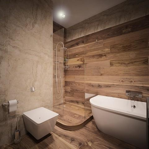 В хозяйской ванной комнате под...