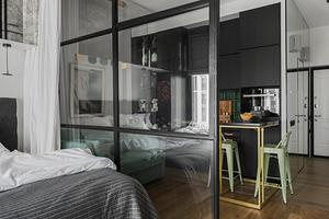 8 классных проектов, в которых кухня и спальня объединены в одну комнату