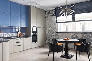 Интерьер квартиры с художественной росписью стен, паровым камином и продуманной эргономикой