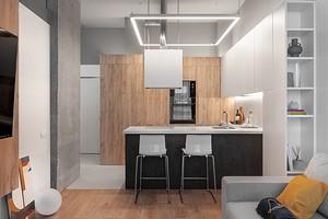 Маленькая квартира с высокими потолкам и бетонными колоннами