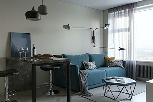 Аскетичная однушка для студента со спальней, кухней-гостиной и рабочим местом
