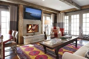 Интерьер гостиной в деревянном доме (56 фото)