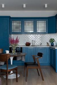 Дизайн кухни в синем цвете (81 фото)