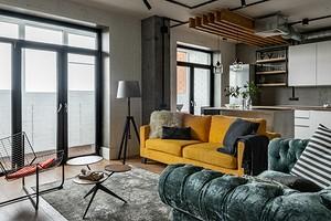 Бетонный потолок, кирпичные стены и мебель ИКЕА: интерьер квартиры в стиле лофт