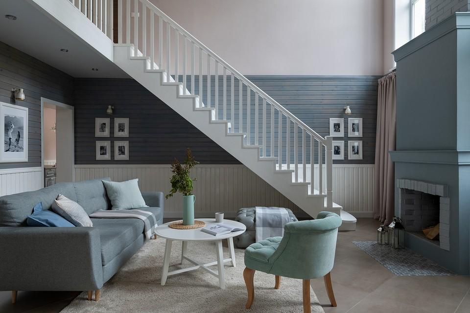 Бюджетная отделка и мебель ИКЕА: интерьер двухэтажного дома для большой семьи