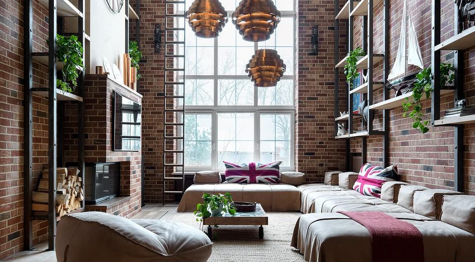 Трехэтажный дом в стиле лофт с большой зоной отдыха, библиотекой и творческой мастерской