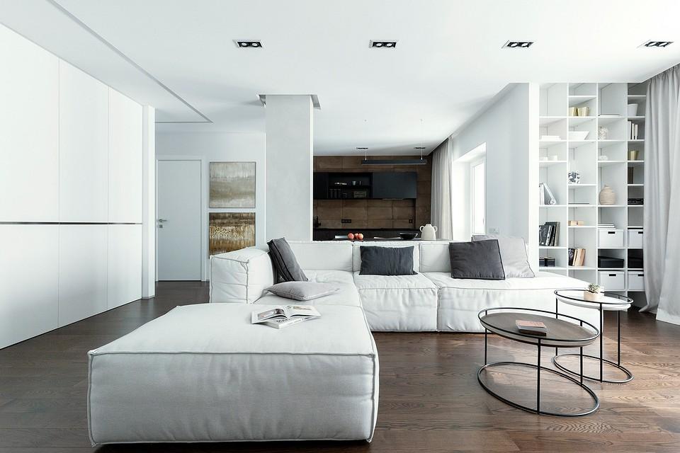 Общая зона — холл, гостиная и куm...