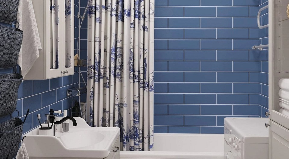 Трендовый дизайн синей ванной комнаты: правильная отделка, выбор цвета и сочетания
