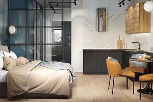Всего 25 кв. м: маленькая квартира с кухней-спальней