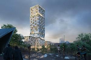 Архитекторы показали проект деревянного дебоскреба с бассейном на крыше