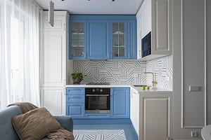 Маленькая квартира с яркой мебелью и спальней за зеркальной дверью