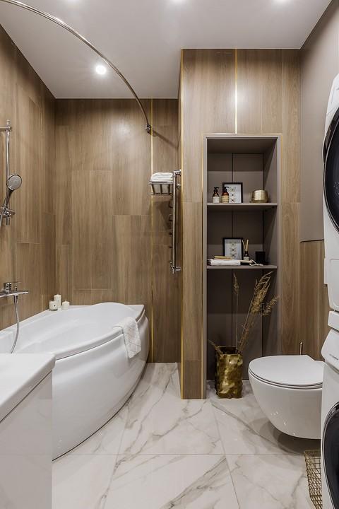 В ванной комнате есть тумба под...